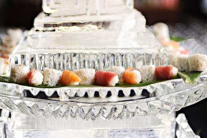 sushi on a pagoda ice sculpture