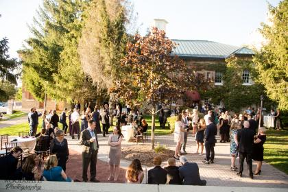 guests mingling in a courtyard